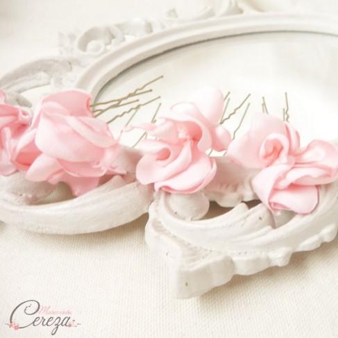 Pics Chignon Mariage Fleur Rose Pale Nude Blush Personnalisable