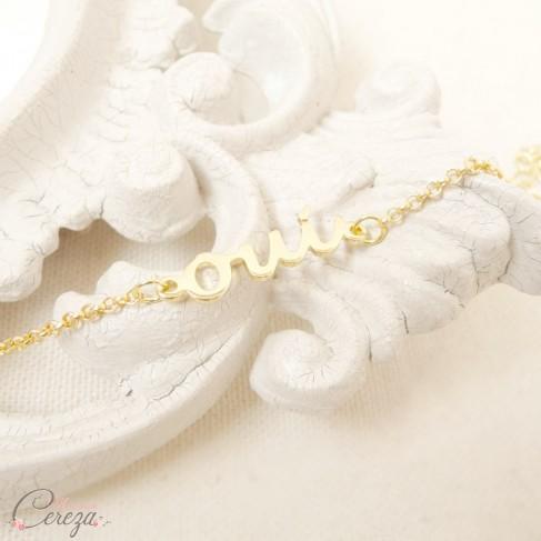Bracelet mariée OUI doré