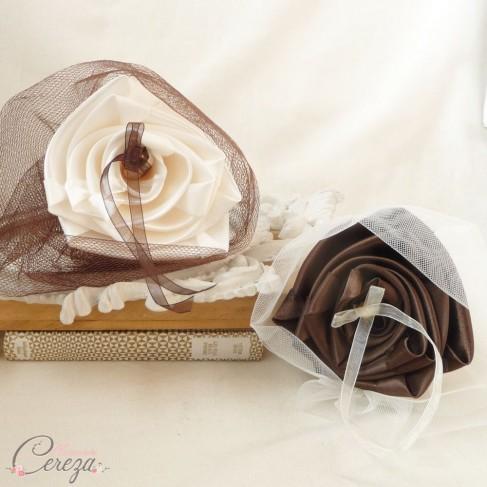 Porte-alliances Duo ivoire chocolat original personnalisable