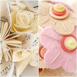 Bouquet partition de musique + bouquet boutons - acompte - Réservé Melle  H.