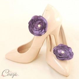 Bijoux de chaussure violet clips fleur Laura