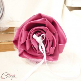 Mariage rose fuchsia gris blanc porte-alliances Duo fleurs original personnalisé