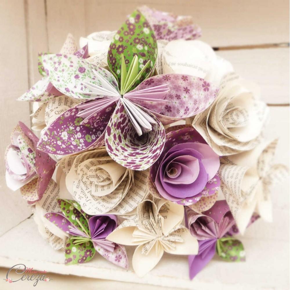 bouquet mariage atypique fleurs de papier original violet. Black Bedroom Furniture Sets. Home Design Ideas