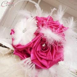 Bouquet de mariage rétro cabaret plumes strass Nina personnalisable