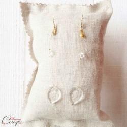 """Boucles d'oreille mariée cristal pendantes originales nature chic """"Alyssa"""""""