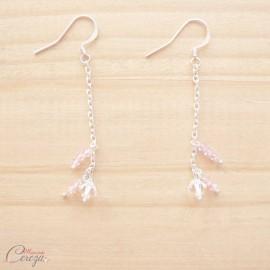 """Boucles d'oreille perles cristal pendantes personnalisables """"Brume"""" Bijoux mariage"""