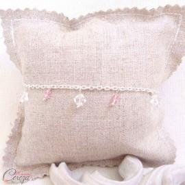 "Bracelet mariée perles de cristal rose transparent Swarovski personnalisable ""Brume"""