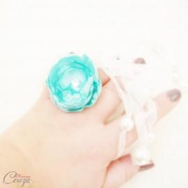 Bague fleur vert menthe mint strass cristal Swarovski cadeau témoin personnalisable 'Venezzia'