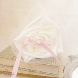 Porte alliances Duo ivoire rose bouquets fleurs mariage romantique