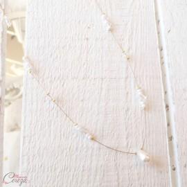 Collier de mariage rétro perles et cristal Swarovski personnalisable 'Samara'