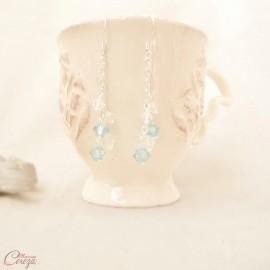 """Boucles d'oreilles bleu longues cristal Swarovski """"Céleste"""" Bijoux mariage"""