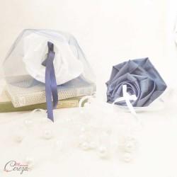 Porte-alliances Duo bleu marine blanc original fleur personnalisable