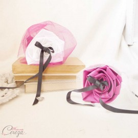 Coussin alliances rose fuchsia blanc noir porte-alliances Duo original personnalisable