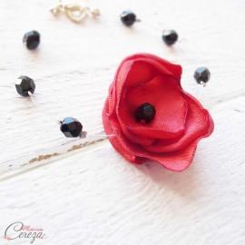 Bijou mariage rouge noir coquelicot bracelet fleur perles