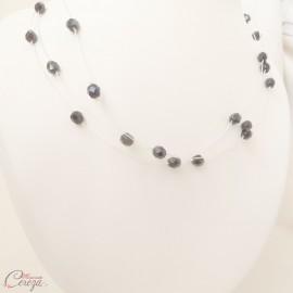 Collier de perles noires multi-rangs 'Edith' bijou mariage cérémonie soirée