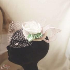 Bibi mariage romantique chic voilette rose blanc cassé vert pâle - Garden Party - personnalisable