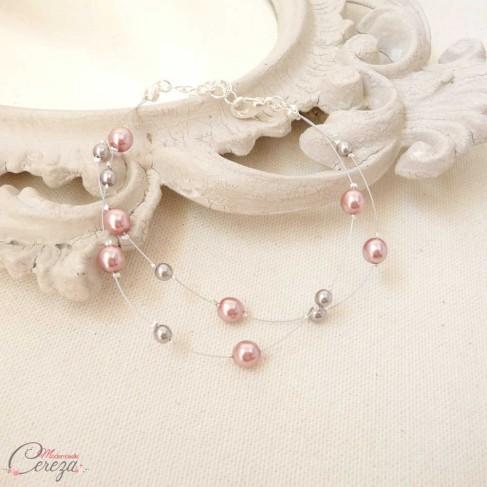 "Bracelet mariage rose gris perles double rang personnalisable ""Mina"""