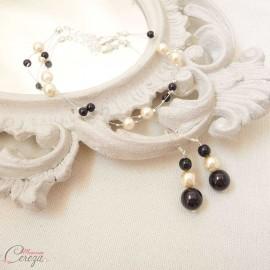 """Mariage ivoire noir boucles oreilles perles baroques """"Salomé"""""""
