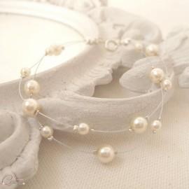 "Bracelet mariée perles double rang  personnalisable ""Mina"""
