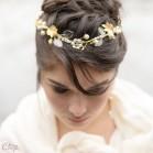 "Headband mariage chic perles cristal feuillage nature ""Alyssa"""
