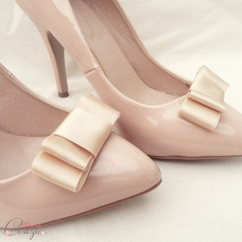 Bijoux de chaussures rétro noeud beige Mary