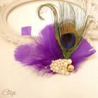 Accessoire mariage violet doré bijou de coiffure plume de paon voilette rétro chic