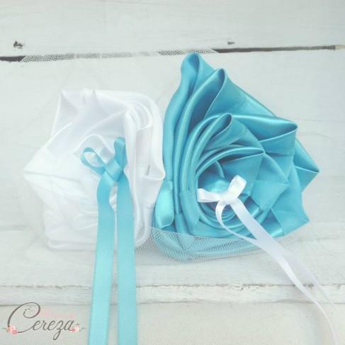 """Mariage turquoise blanc porte-alliance floral original personnalisable """"Simplicité"""""""