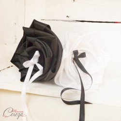 """Porte-alliances mariage noir blanc original chic fleurs """"Simplicité"""" personnalisable"""