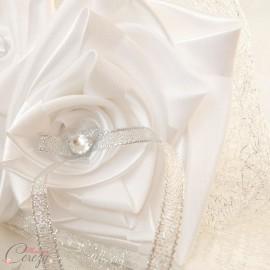 """Porte-alliances mariage argent blanc hiver chic """"Simplicité"""""""