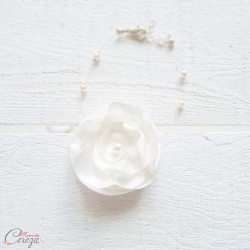 """Bracelet mariée fleur blanche romantique """"Lila"""" Bijou mariage personnalisable"""