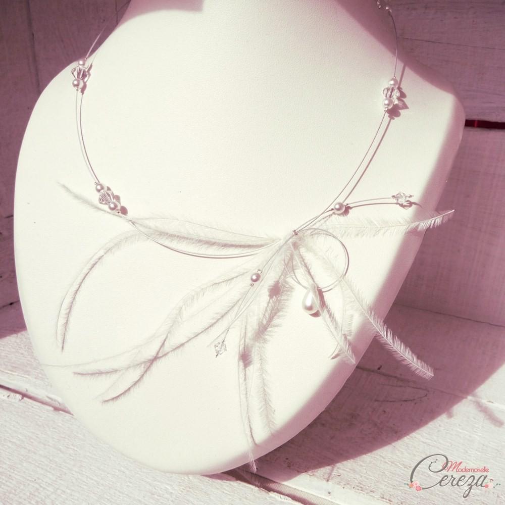 99ea2977463 ... Collier mariée plumes perles romantique original rétro bijou mariage ...