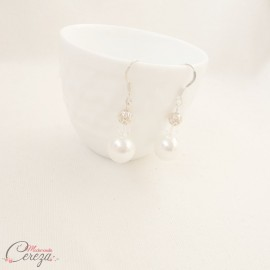 "Boucles d'oreille mariage perle chic originales cristal Swarovski ""Olympe"""