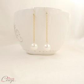 """Boucles d'oreille mariée pendantes longues perle blanc ou ivoire """"Soline"""""""