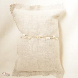 "Bracelet double rang perles et cristal Swarovski personnalisable ""Amalia"" - Bijou mariage"