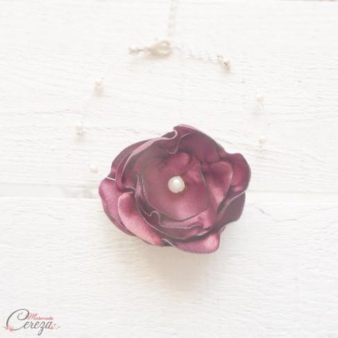 """Bracelet mariée fleur bordeaux perles romantique """"Lila"""" personnalisable - Bijou mariage floral"""