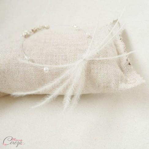 "Bracelet mariage plume perle et cristal Swarovski personnalisable ""Maxine"" - Bijoux mariage"