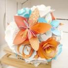 Bouquet de mariage origami bleu turquoise ciel orange fleurs de papier personnalisé