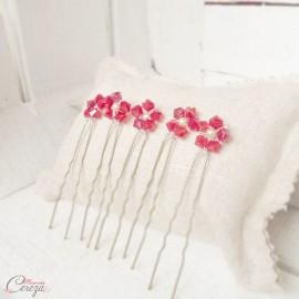 Pics chignon mariage perles rouge cristal Swarovski  'Judy'