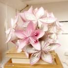 """Bouquet de mariée origami rose pastel fleurs japonaises """"Be my Valentine"""""""