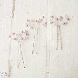 Bijoux de coiffure perles rose ivoire ou rose blanc 'Annaëlle' romantique