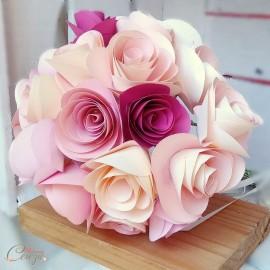 "Bouquet mariée origami original roses de papier ""Gabriella"""
