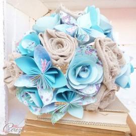 Bouquet de mariée original, boutonnière sur-mesure tons bleu et lin jute origami tissu