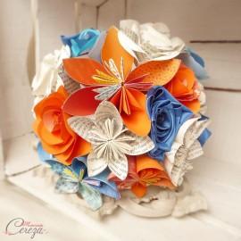 Bouquet de mariee origami orange bleu et fleurs de tissu satin sur-mesure