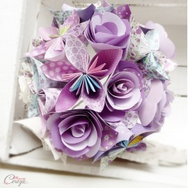"""Bouquet de mariee origami mauve violet parme """"Crazy Love"""""""