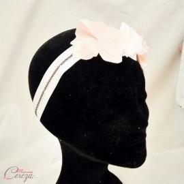 """Headband mariage rétro chic ivoire nude fleurs voilette """"Faustine"""" - Accessoire coiffure"""