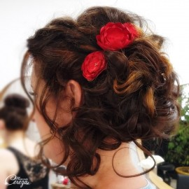 Headband mariage fleurs rouge champêtre chic Inaya