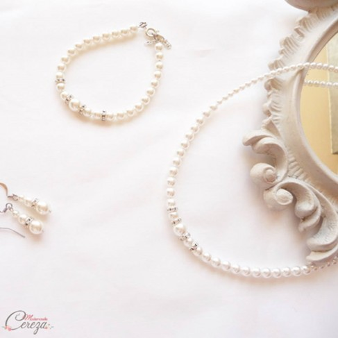 Parure bijoux mariage perles strass romantique chic 'Holly'