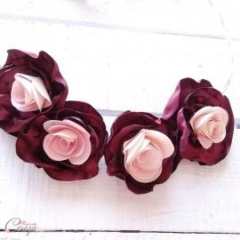 "Headband mariage bordeaux nude fleurs romantique ""Gabriella"" - Accessoire coiffure"