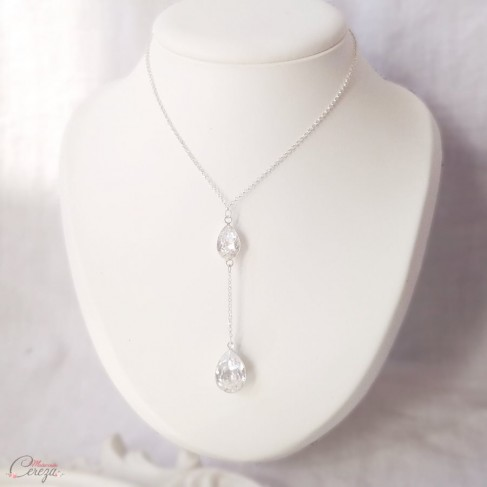 "Collier mariée pendentif cristal Swarovski ""Gatsby"" - Bijou mariage personnalisable"