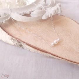 """Collier mariée épuré perles argent ou plaqué or """"Alessandra""""  Bijou mariage personnalisable"""